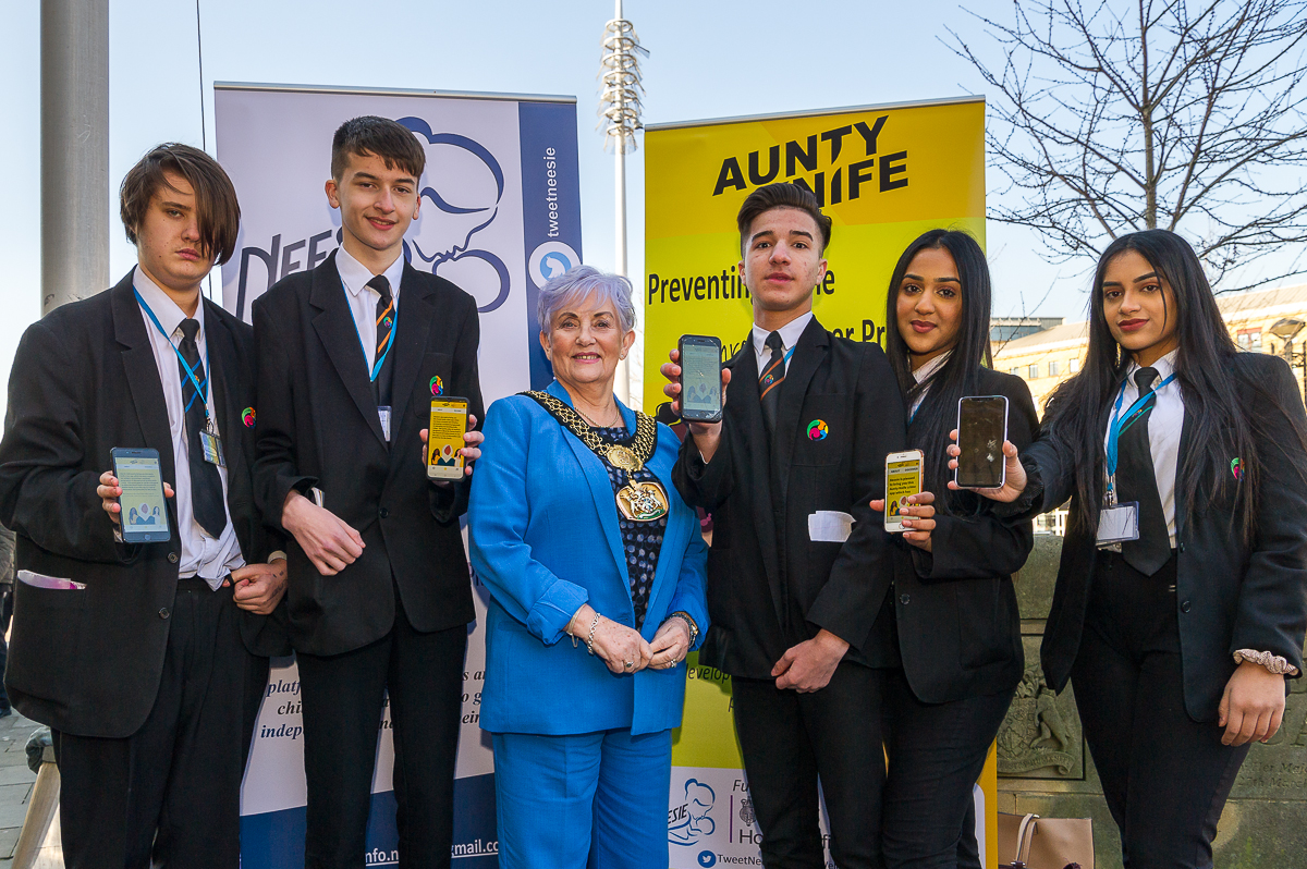 PR photography in Bradford: Aunty Knife phone app launch.